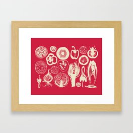 Adorned Fruit and Vegetable Box in Deep Red and Cream Framed Art Print