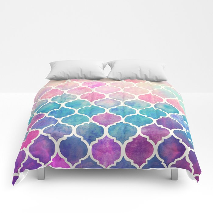 Rainbow Pastel Watercolor Moroccan Pattern Comforters By