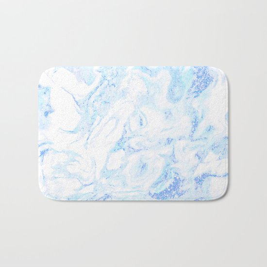 White Marble with Pastel Blue Purple Teal Glitter Bath Mat