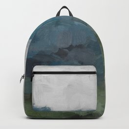 Gray Blue Navy Indigo Sage Leafy Green Sky Forest Abstract Painting, Modern Wall Art, Portrait Backpack