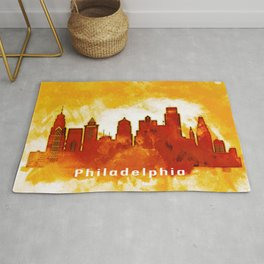Philadelphia Pennsylvania Red Yellow Skyline Rug