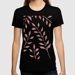 Garden Vines Pink Rose Gold Glitter T-shirt