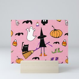 Cute #Halloween Witch and Friends Pink Mini Art Print