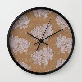 Chrysanthemums and Paisley 2 Wall Clock