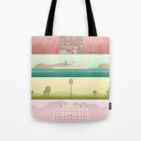 wes anderson Tote Bags featuring A Wes Anderson Collection by George Townley