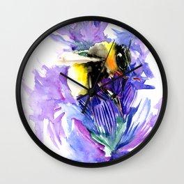 Bee and Lavander Flowers, Bumblebee Wall Clock