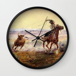 """""""On the Pond"""" by Charles M Russell Wall Clock"""