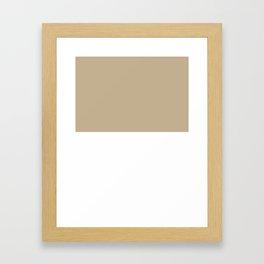 White and Khaki Brown Horizontal Halves Framed Art Print