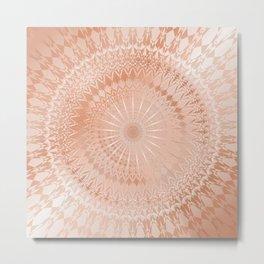 Rose Gold Geometric Mandala Metal Print