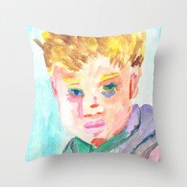Watercolor Portrait Painting/ Illustration-A Boy Throw Pillow