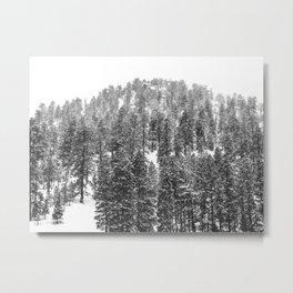 Mountain Snowfall // Snowy Peak Winter Landscape Photography Black and White Art Print Metal Print