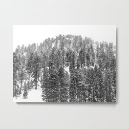 Mountain Snowfall // Snowy Peak Winter Landscape Photography Black and White Art Print Metal Print