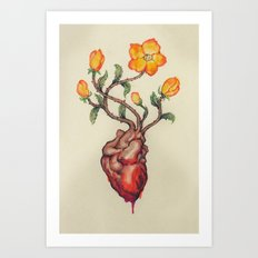 THIS BLEEDING BLOSSOMING HEART: ORANGE WILD ROSE Art Print