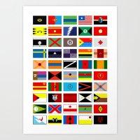 deathstroke Art Prints featuring SH as flags by Fabian Gonzalez
