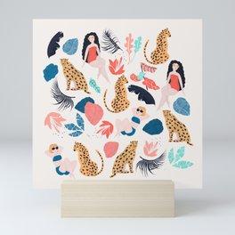 Tropical girls and Cheetah Mini Art Print