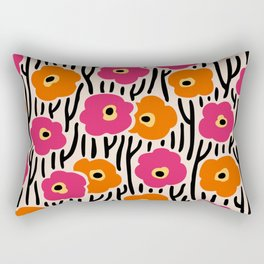 Mid Century Modern Wild Flowers Pattern Pink and Orange Rectangular Pillow