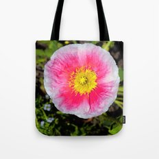 Pink & White Poppy Tote Bag