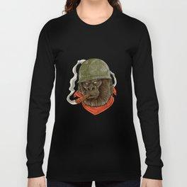 Gorilla Silverback Smoking A Cigar Gift I Military Long Sleeve T-shirt