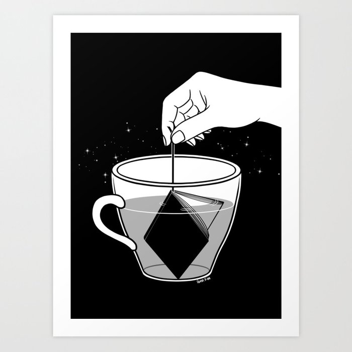 A Cup of Book Art Print