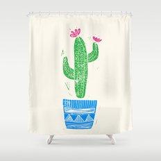 Linocut Cactus #2 in a pot Shower Curtain