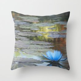 Water Lilies Afloat Throw Pillow