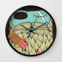 captain Wall Clocks featuring Captain Hope by Alejandro Giraldo