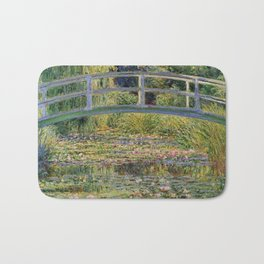 Water Lilies and Japanese Bridge Painting by Claude Monet Bath Mat