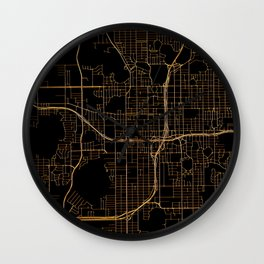 Black and gold Orlando map Wall Clock