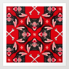 Vampire Bat Face Geometric Pattern Art Print