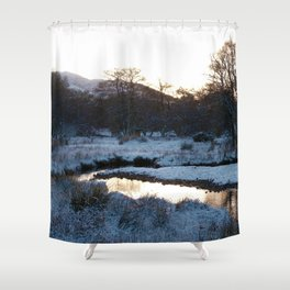 Snow on the hills Shower Curtain