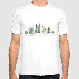 Watercolour Cacti & Succulents T-shirt