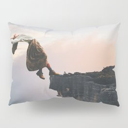 Up in the Clouds-Surreal Levitation Off a Cliff Pillow Sham