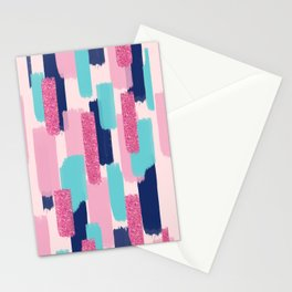 Navy and Pink Glitter Brush Strokes Stationery Cards
