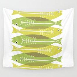 Yellow Green Sardine Wall Tapestry