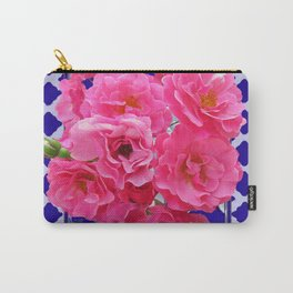 PINK ROSE CLUSTER PURPLE-GREY LATTICE  DESIGN Carry-All Pouch