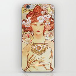 Rose by Alphonse Mucha 1897 // Vintage Girl with Red Hair Floral Love Design iPhone Skin