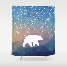 Beary Snowy in Blue Shower Curtain