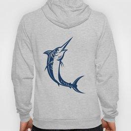 Blue Marlin Jumping Retro Hoody