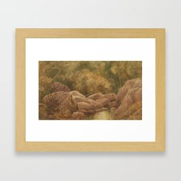 Rock with Stream by George Harlow White Framed Art Print