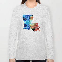 Louisiana Map - State Maps By Sharon Cummings Long Sleeve T-shirt