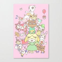Animal Crossing (pink) Canvas Print