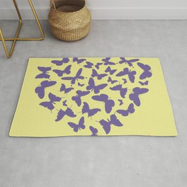 Ultra violet heart shape made from butterfly silhouettes. Rug