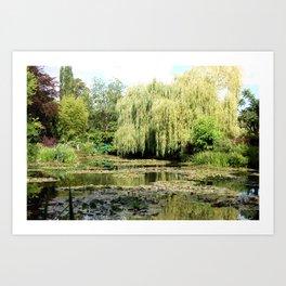 Willow Tree in Monet's Garden  Art Print