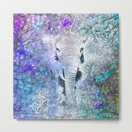 ELEPHANT IN THE STARRY LAKE Metal Print