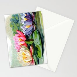 Vintage Lily Pad Floral Pond Lilies Stationery Cards