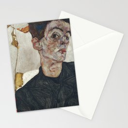 Egon Schiele - Self-Portrait with Physalis / Chinese Lantern Plant (1912) Stationery Cards