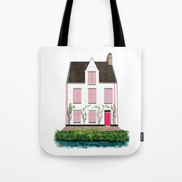 Pink and White House in Bruges Tote Bag