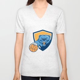 Grizzly Bear Angry Head Basketball Shield Cartoon Unisex V-Neck