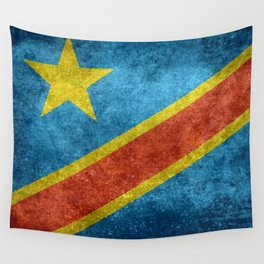 National flag of the Democratic Republic of the Congo, Vintage version (to scale) Wall Tapestry