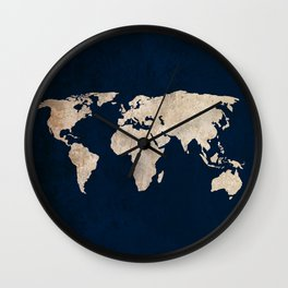 Inverted Rustic World Map Wall Clock